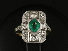Antiker Smaragd Diamant Ring ca. 1,10ct  585/- Gelbgold & Platin