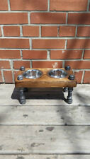 Rustic industrial pipe and wood dog bowl | Vintage elevated dog bowls