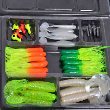 35 Pcs Simulation Worms Shape Fishing Lures Soft Rubber Baits Tackles Jig Hooks