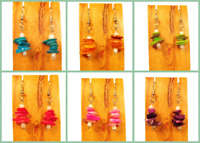 Set of 6 Handmade Beaded Bright Colors Stacked Shell Earrings 6 COLORS Party Mix