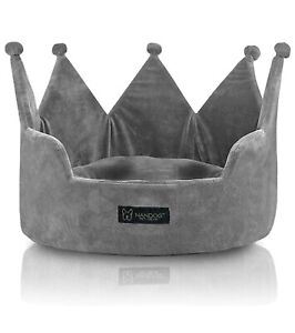 Nandog Pet Gear Dog Tiara Crown Bed Micro Plush GREY NWT
