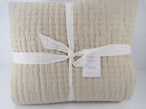 Pottery Barn Flax Pick Stitch Handcrafted Cotton Linen Quilt King Flax #8237