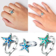 Women Opal Silver Ring Starfish Jewelry Wedding Engagement Ring Ladies Size 6-10