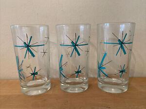 """Set of 3 Vintage Salem North Star Atomic Starburst MCM Drinking Glasses 4 3/4"""""""