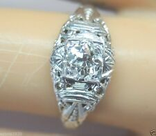 Antique Art Deco Diamond Engagement Ring 18K White Gold Ring Size 5 EGL USA Fine