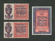 More details for liechtenstein 10 20 50 heller  1920  set  krause 1 2 3  uncirculated  banknotes