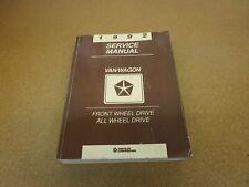 1992 Dodge Grand Caravan Chrysler Town & Country van shop service wiring manual