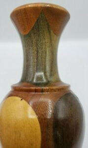 """Wooden Vase Hand Crafted With Several Different Woods 12"""" Wood"""