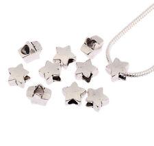 Star tibetan Silver European charms alloy beads fit Bracelets 10pcs 10*10mm