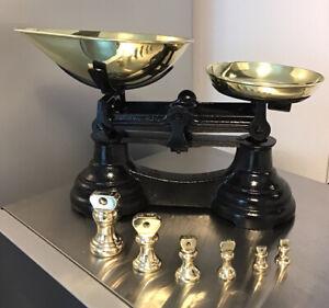 Vintage cast iron BLACK kitchen scales LIBRASCO 6 BRASS BELL WEIGHTS