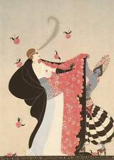 "Original Vintage Erte Art Deco Print ""The Flowered Cape"" Fashion Book Plate"