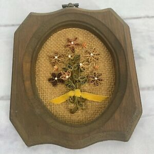 Vintage Quilled Paper Wall Plaque 6x5