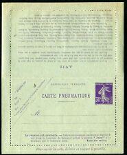 France pneumatic postal stationery lettercard 1911 30c Mi RK67 unused (cat €60)