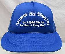 Vintage Darwin Ford Country Mesh Snapback Trucker Hat Ashland Wisconsin Chevy