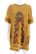 Free People Womens Cotton Embroidered Floral Shift Dress Mustard Size Medium