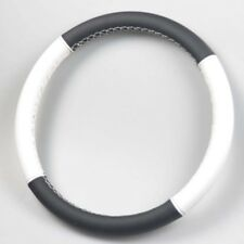 Black&White Leather DIY Stiched Sewing Car Steering Soft wheel Cover Universal