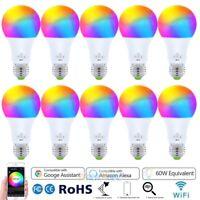 10PCS WiFi Smart Light LED Bulb Bulbs Dimmable RGB W/ Google Home /Alexa/IFTTT