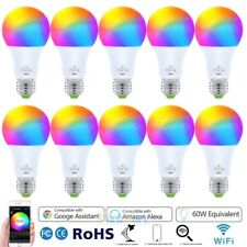10PCS WiFi Smart Light LED Bulb Bulbs Dimmable RGB W/ Google Home /Alexa/IFTTT
