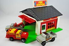 1978 TONKA FIRE STATION & GARAGE Building w/ 3 PICK-UP Trucks Made USA & Mexico