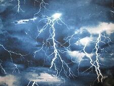 Lightning Strikes Sky Blue Storm Cotton Fabric BTHY