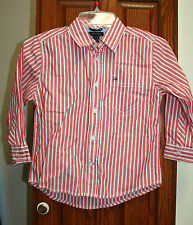 Tommy Hilfiger Boys NWT 3T Red/white stripe long sleeve shirt