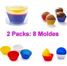 Set 8 Moldes de Silicona para Cupcakes (2 packs de 4) soporta hasta 240ºC,cocina