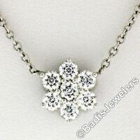 New 14K White Gold 1.05ctw G VS1 Diamond Petite Flower Cluster Pendant Necklace