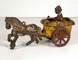 1910s CAST IRON HORSE DRAWN CHESTER GUMP PONY CART TOY BY ARCADE HAY WAGON TOY