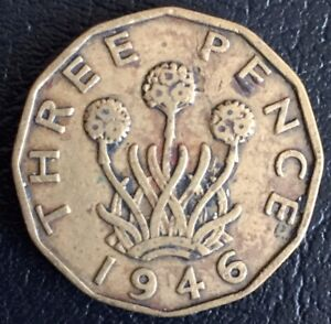 UK George VI 3d Three Pence Coin 1946 Rare Date