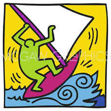 Keith Haring KH12 Abstract Contemporary Figure Surfing Print Poster 20x22