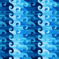 Fabric Calypso Water Waves Blues on Cotton by the 1/4 yard