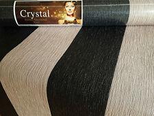 Crystal Black & Taupe Brown Glitter Stripe Vinyl Wallpaper 13cm wide 9010