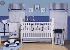 Bacati - Blue/white Sailboat Nautical 10 Pc Crib Set Including Bumper Pad BABY