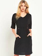 V by Very Womens UK 20 Black Adjustable 3/4 Sleeve New Dress FREE P&P