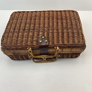 Imitation Woven Wicker Rattan Picnic Basket Suitcase Style Storage Kitchen Decor