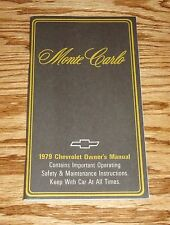 1979 Chevrolet Monte Carlo Owners Operators Manual 79 Chevy