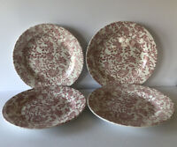 "CHURCHILL ENGLAND SET OF 4 MUTED RED PINK ROSES PEONY 10 3/8"" DINNER PLATES"