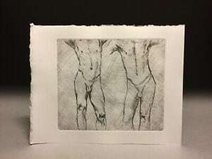 Drypoint Etching Engraving after John Singer Sargent, Male nude figure studies