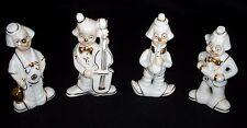 Vtg Monti Piero Spain Collection Four Musician Clowns Porcelain Figurines Mint