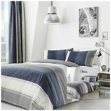 À rayures housse de couette en bleu et en coton mélangé gris comprend taies par ...