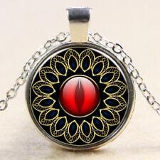 Vintage Cabochon Tibetan Silver Glass Ruby eye Chain Pendant Necklace E