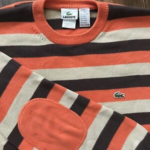 Lacoste Mens Cotton Crewneck Pullover Elbow Patches Sweater Orange Striped 7/XL