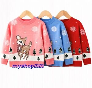 Girls Top Sweater Christmas Knitted Warm Autumn Winter Long Sleeve Age 2-8 years