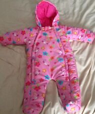 Pink Water Proof baby girls babygrow playsuit with Hat And Gloves
