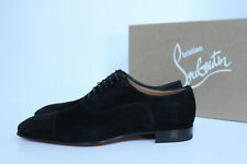 sz 8 US / 41 Christian Louboutin Greggo Flat Black Suede Leather Oxford Shoes