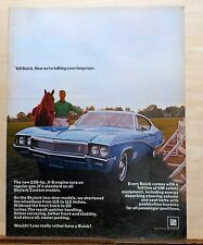 1967 magazine ad for Buick - color photo of 1968 Skylark Custom, horse & rider