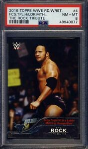 2016 Topps WWE The Rock Tribute  #4 PSA 8 Ships From CAN & USA