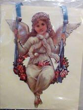 Victorian Greeting Card Hanging Satin Ribbon Embossed Angel Swing & Flowers