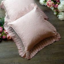 Cuscino Arredo con Pizzo su Tulle Shabby Chic 40x40 Colore Rosa