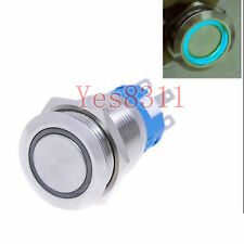 12v 19mm Metal Push Button Switch Momentary Blue LED Waterproof Flat head